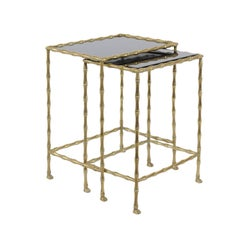 1950s Pair of Vintage French Brass and Stone Tops, Bamboo-Style Nesting Tables