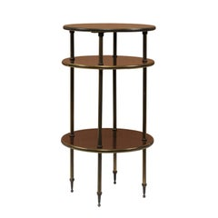 Vintage Italian Mahogany and Brass Tiered Side Table from the Mid-20th Century