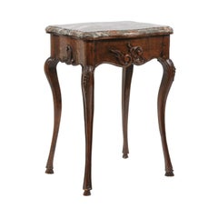 French Louis XV Style Walnut Side Table with Marble Top and Cabriole Legs, 1870s