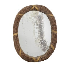 Oval French Neoclassical Parcel-Gilt Ribbon-Tied Wreath Mirror, circa 1880