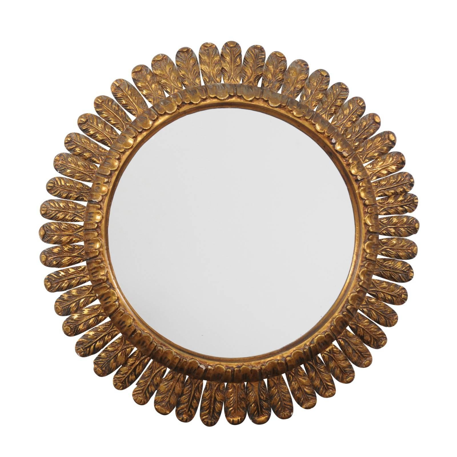 French Vintage Giltwood Sunburst Mirror with Waterleaves from the Midcentury