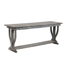 French 1880s Drapers Table with Distressed Grey Painted Finish and Trestle Base