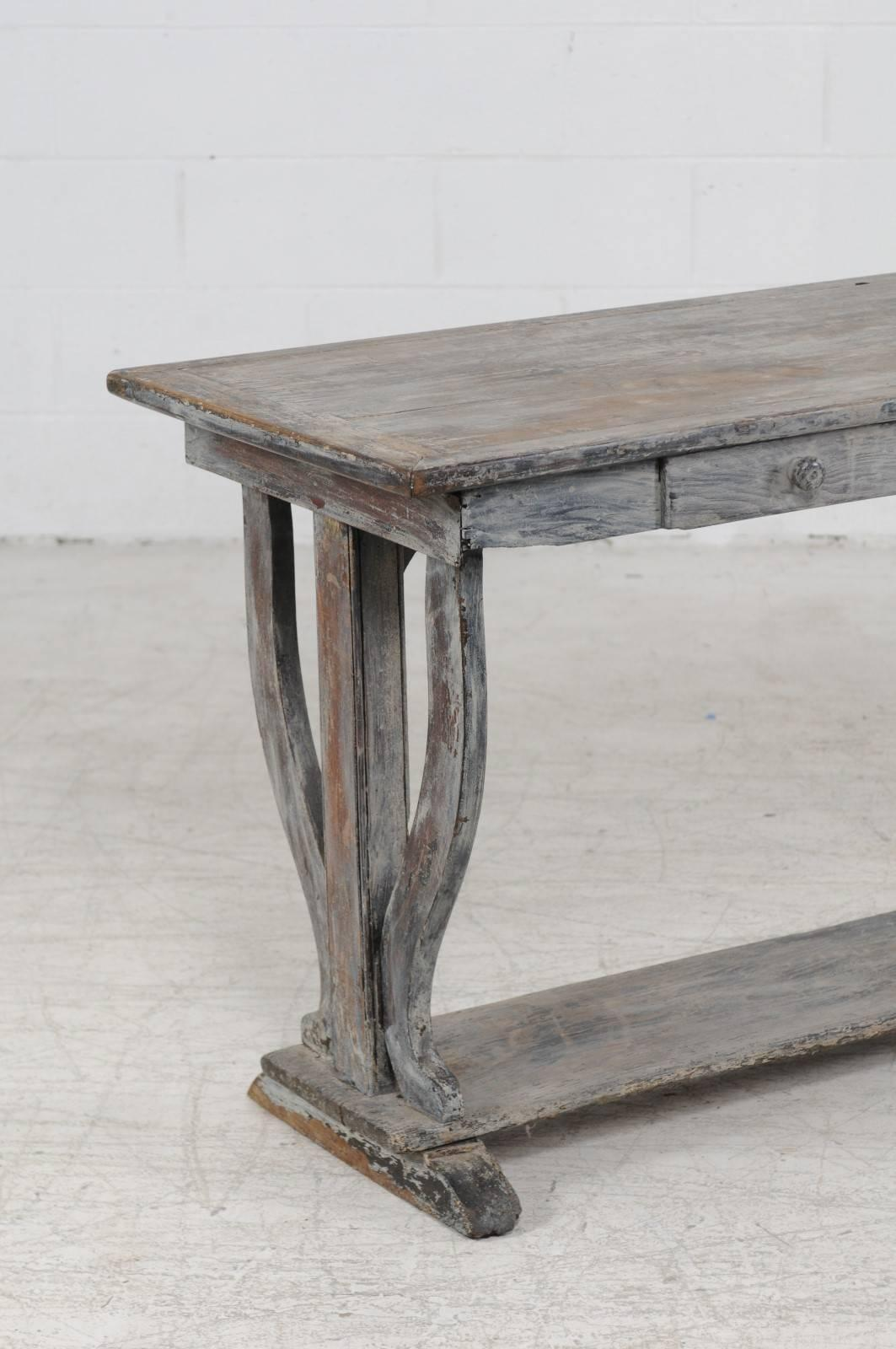 French 1880s Drapers Table With Distressed Grey Painted Finish And Trestle  Base In Good Condition For