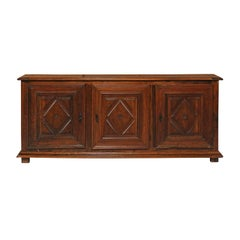 Italian Three-Door Chestnut Wood Enfilade with Diamond Motifs from the 1820s