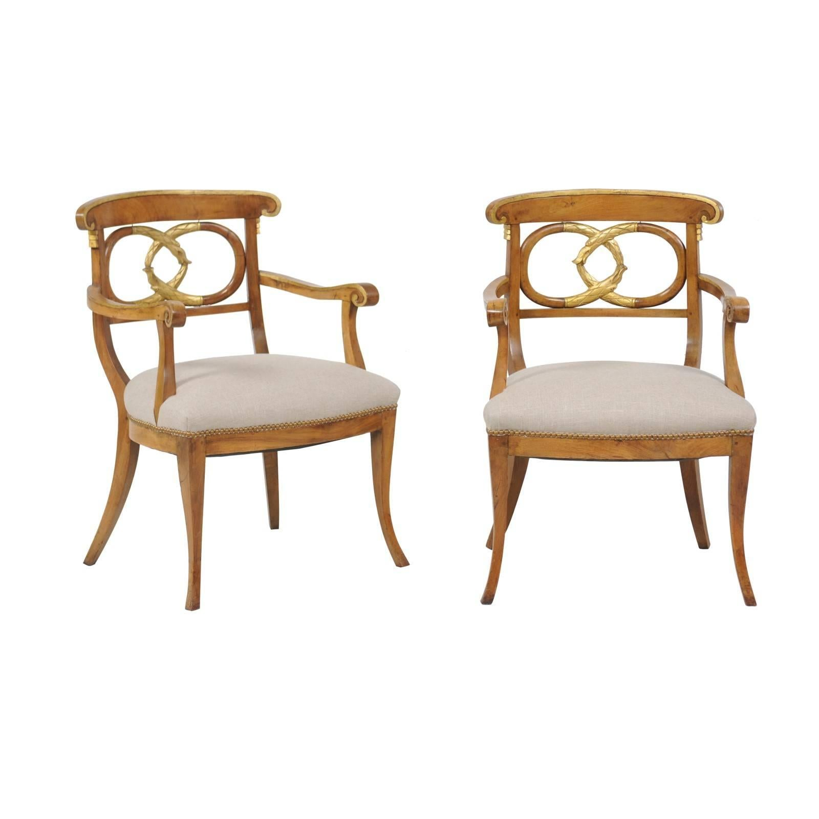 Pair of Italian 1860s Parcel-Gilt Walnut Upholstered Chairs with Serpent Motifs