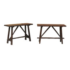 Pair of Italian 1820s Walnut Console Tables with Trestle Base and Splayed Legs