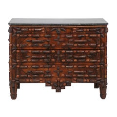 French 1880s Walnut and Pine Cone Three-Drawer Commode with Dark Grey Marble Top