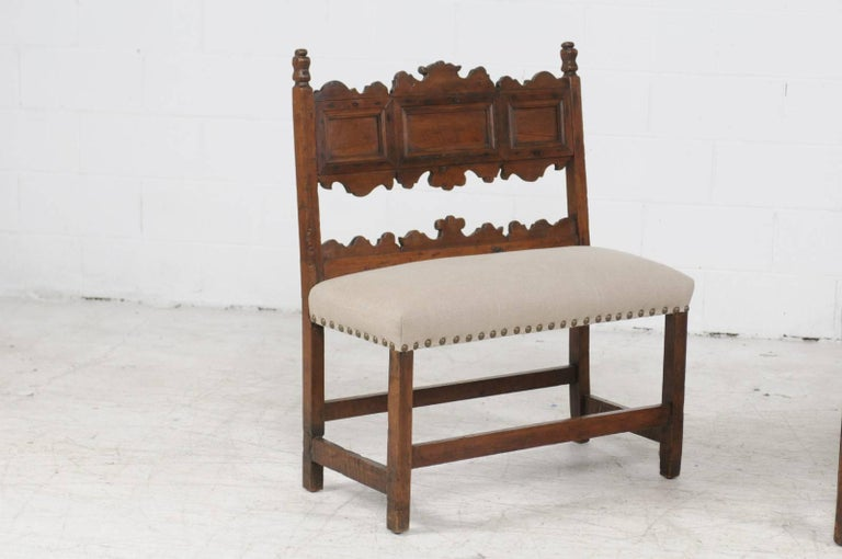 Pair of Italian 1820s Carved Walnut, Slanted Back Benches with New Upholstery In Good Condition For Sale In Atlanta, GA