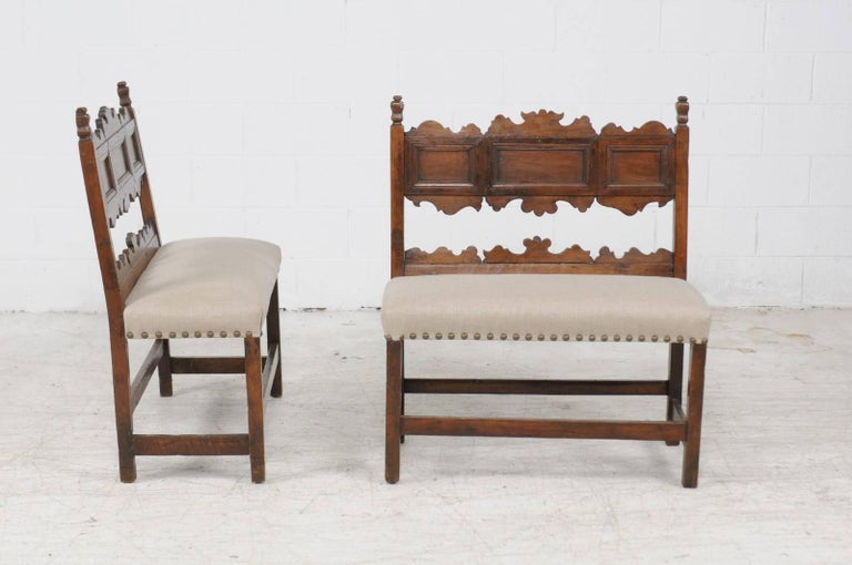 Pair of Italian 1820s Carved Walnut, Slanted Back Benches with New Upholstery For Sale 1
