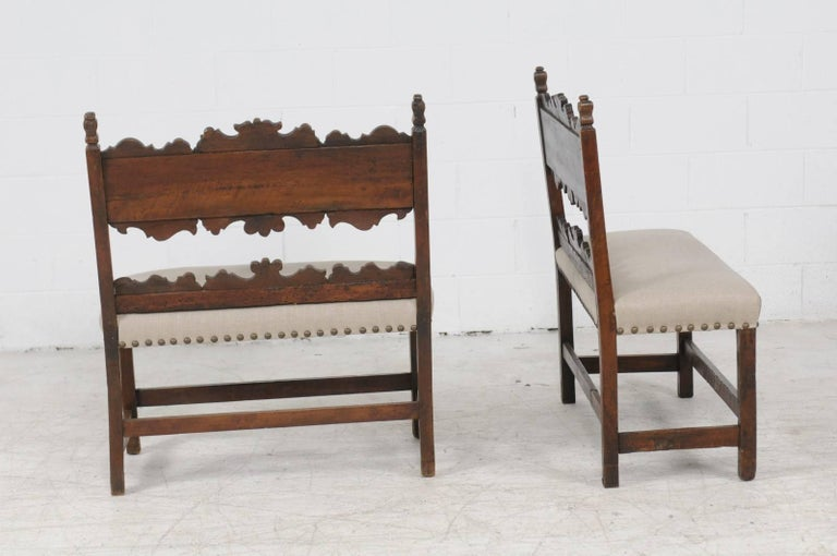 Pair of Italian 1820s Carved Walnut, Slanted Back Benches with New Upholstery For Sale 2