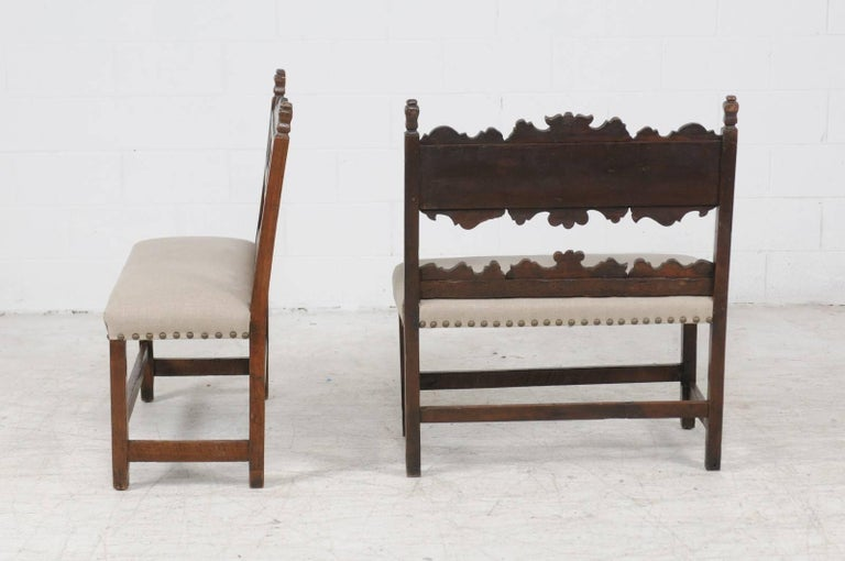 Pair of Italian 1820s Carved Walnut, Slanted Back Benches with New Upholstery For Sale 3