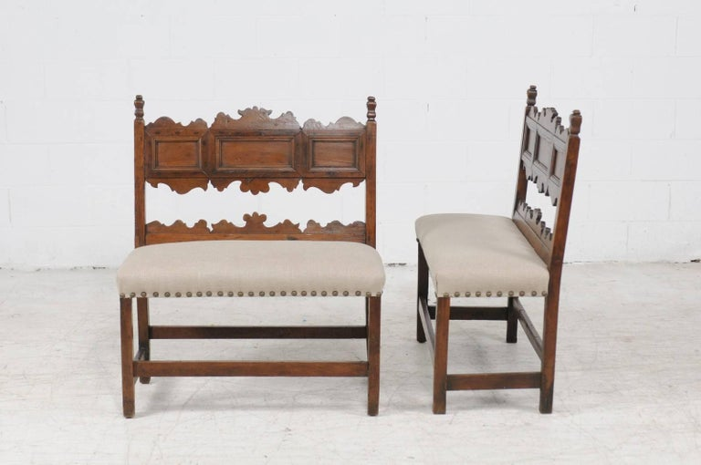 Pair of Italian 1820s Carved Walnut, Slanted Back Benches with New Upholstery For Sale 4