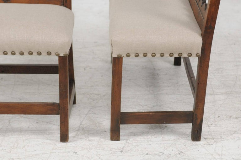 Pair of Italian 1820s Carved Walnut, Slanted Back Benches with New Upholstery For Sale 6