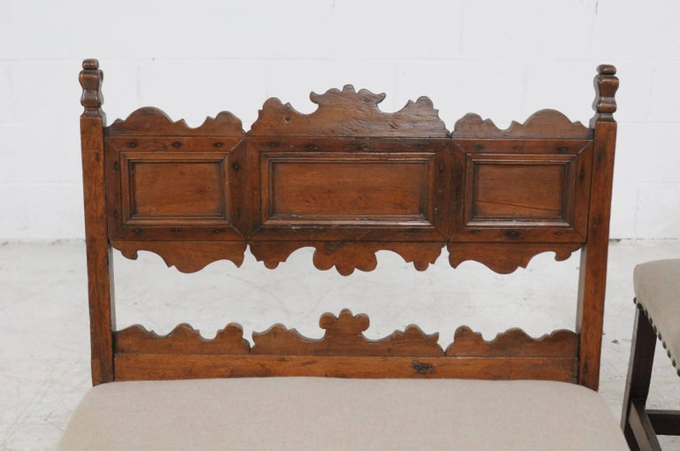 Pair of Italian 1820s Carved Walnut, Slanted Back Benches with New Upholstery For Sale 5