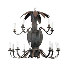 Unusual French 14-Light Painted Tole Chandelier with Scrolled Arms and Leaves