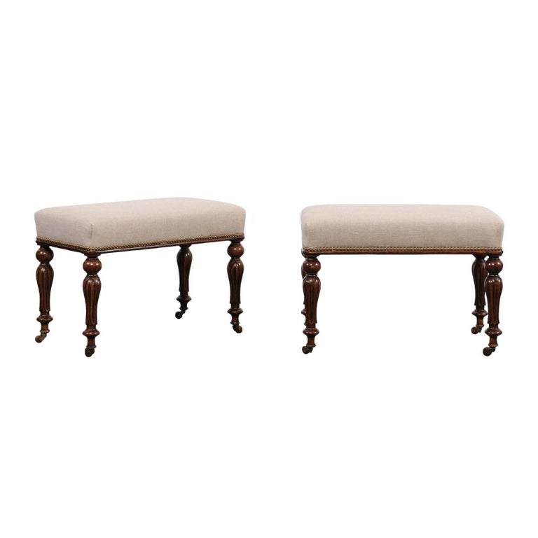 Pair of English 1870s Carved Oak Benches with Baluster Legs and Upholstery