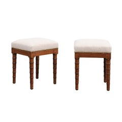 Pair of English 1870s Mahogany Stools with Faux-Bamboo Legs and Upholstery