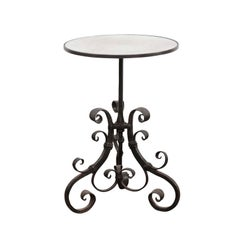 1870s Italian Wrought-Iron Pedestal Side Table with Mirrored Top and Scrolls