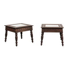 Pair of Early 20th Century Anglo-Indian Carved Wood Tables with Mirrored Tops