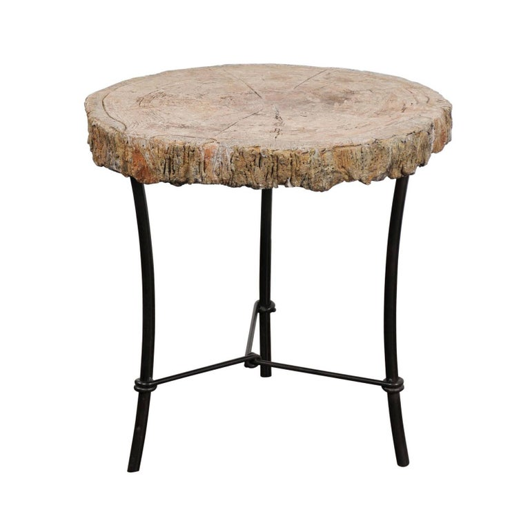Antique French 1920s Faux-Bois Stone Round Side Table on Custom-Made Iron Base
