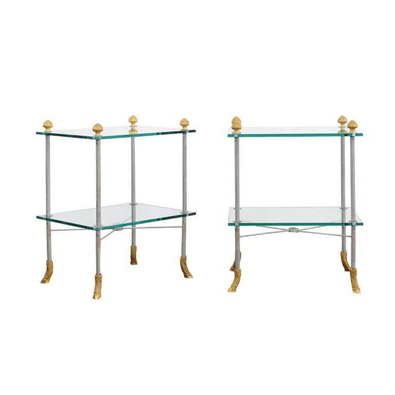 Pair of French Midcentury Steel and Brass Tiered Side Tables with Hoofed Feet