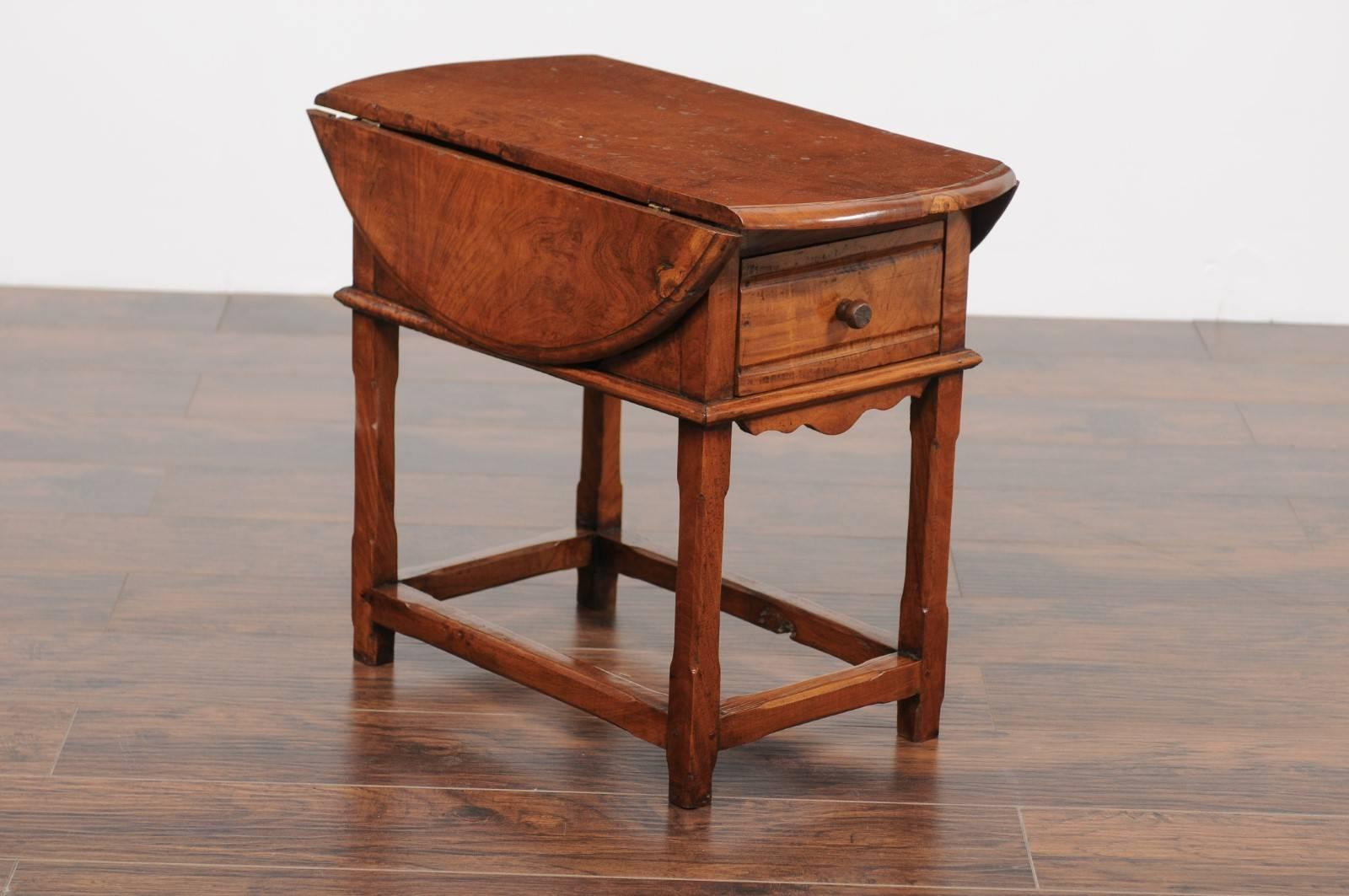 An English Yew Wood Drop Leaf Side Table From The Second Half Of The 19th
