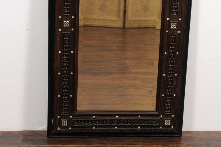 20th Century Pair of Syrian Hand-Carved Mirrors with Mother-of-Pearl Inlay, circa 1900 For Sale