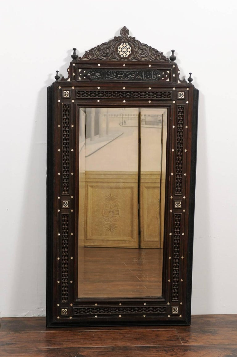 Pair of Syrian Hand-Carved Mirrors with Mother-of-Pearl Inlay, circa 1900 For Sale 4