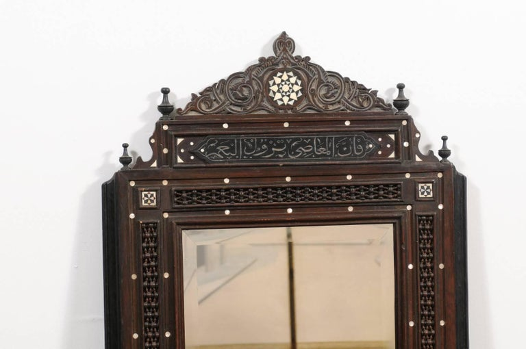 Pair of Syrian Hand-Carved Mirrors with Mother-of-Pearl Inlay, circa 1900 For Sale 5