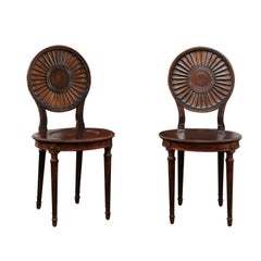Pair of English Mahogany Hall Chairs, circa 1860 with Carved Round Backs