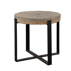Large Drink Table Made of 1920s Millstone Top Mounted on a New Black Iron Base