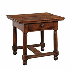 Italian 1800s Walnut Side Table with Single Drawer, Turned Legs and Stretcher