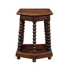 French Louis XIII Style Oak Stool with Bobbin Legs and Side Stretcher, 1860s