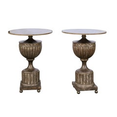 Pair of Italian 1950s Urn Mirrored Top Side Tables with Burnished Silver Finish