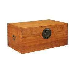 1920s Asian Camphor Wood Box with Traditional Lockset and Lateral Handles