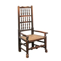 English 1780s Oak William and Mary Style Open Arm Youth Chair with Rush Seat