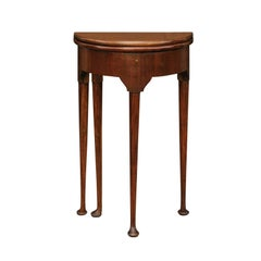 English George III Style 1850s Petite Mahogany Demilune Table with Lift Top