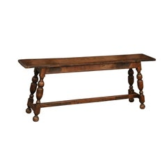 English Oak Bench with Splayed Turned Legs and Cross Stretcher, circa 1860