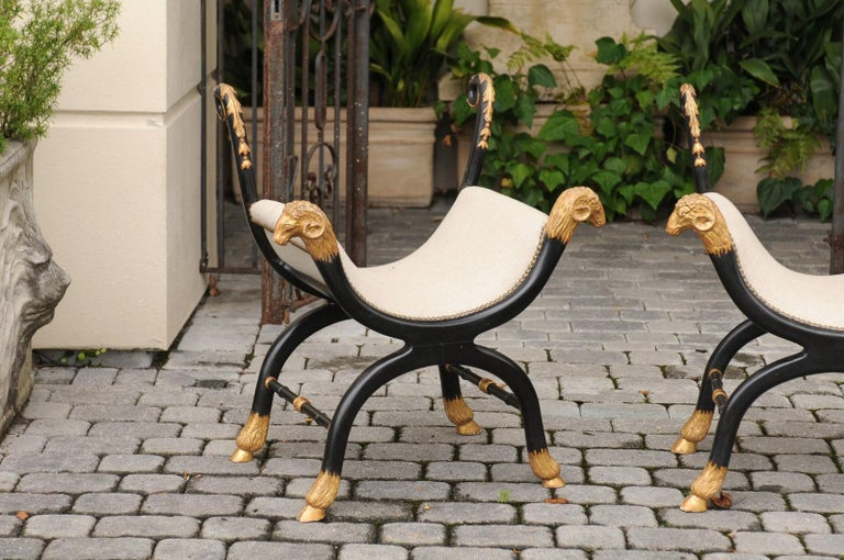 19th Century Pair of English Regency Style Ebonized and Parcel-Gilt Curule Stools, circa 1880 For Sale