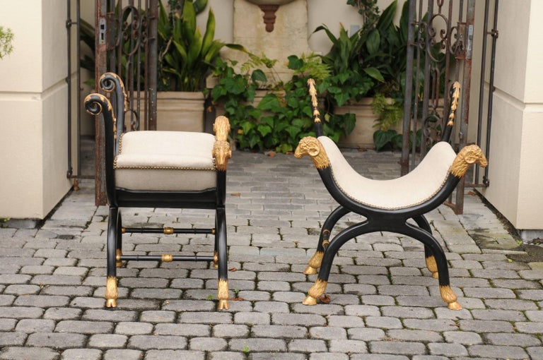 Pair of English Regency Style Ebonized and Parcel-Gilt Curule Stools, circa 1880 For Sale 1