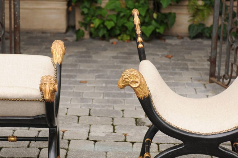Pair of English Regency Style Ebonized and Parcel-Gilt Curule Stools, circa 1880 For Sale 2