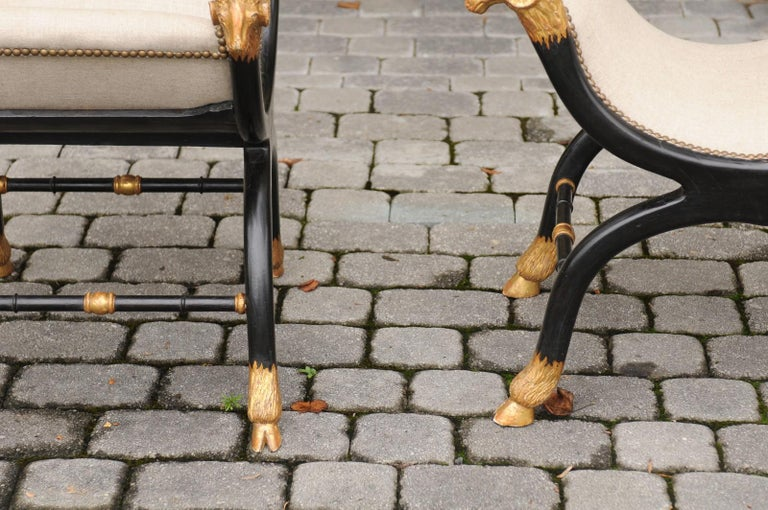 Pair of English Regency Style Ebonized and Parcel-Gilt Curule Stools, circa 1880 For Sale 3