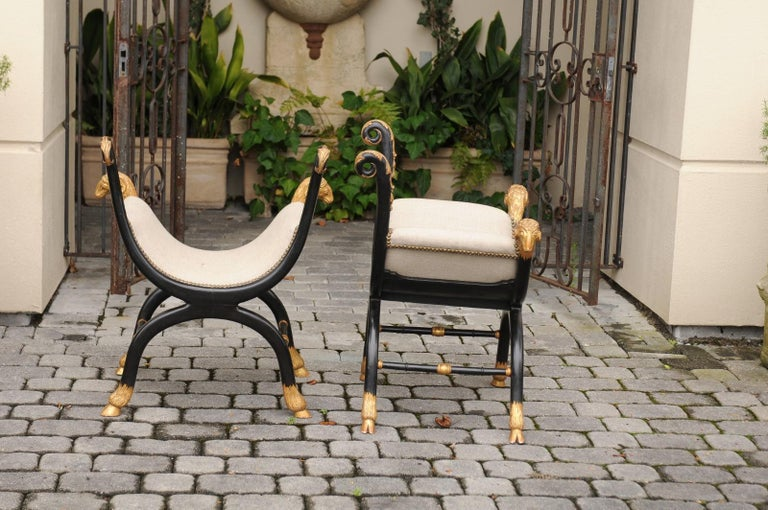 Pair of English Regency Style Ebonized and Parcel-Gilt Curule Stools, circa 1880 For Sale 4