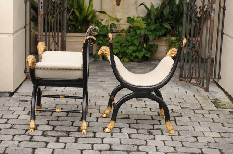 Pair of English Regency Style Ebonized and Parcel-Gilt Curule Stools, circa 1880 For Sale 5