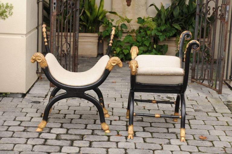Pair of English Regency Style Ebonized and Parcel-Gilt Curule Stools, circa 1880 For Sale 6