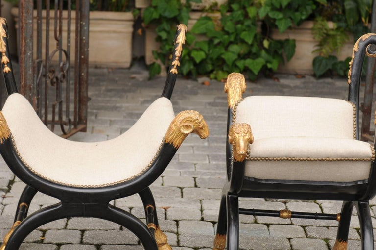 Pair of English Regency Style Ebonized and Parcel-Gilt Curule Stools, circa 1880 For Sale 7