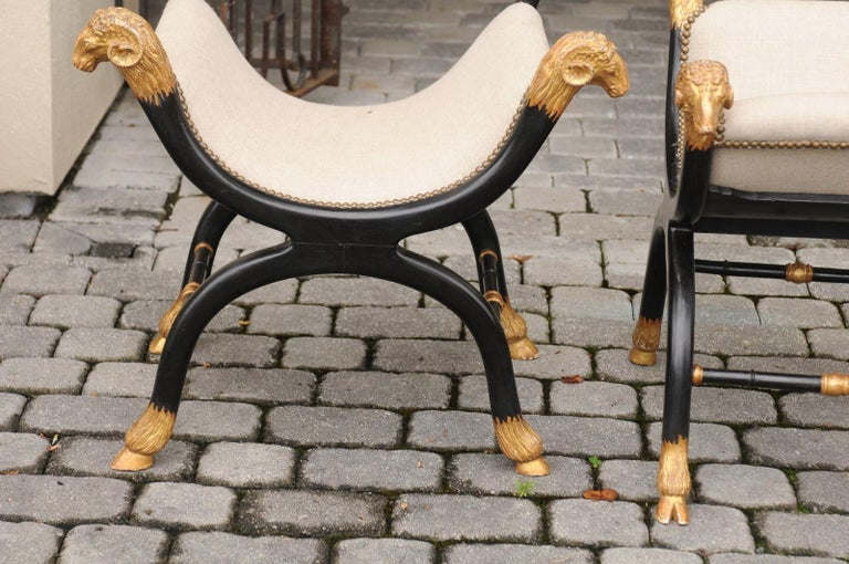 Pair of English Regency Style Ebonized and Parcel-Gilt Curule Stools, circa 1880 For Sale 8