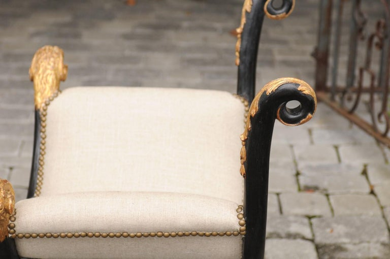 Pair of English Regency Style Ebonized and Parcel-Gilt Curule Stools, circa 1880 For Sale 9
