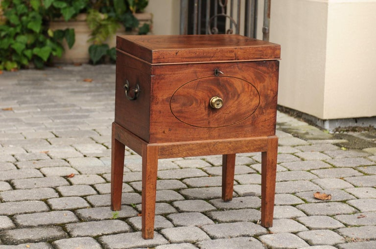 English 1850s Mahogany Cellarette with Banding and Brass Accents on Custom Stand In Good Condition For Sale In Atlanta, GA