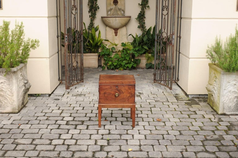 19th Century English 1850s Mahogany Cellarette with Banding and Brass Accents on Custom Stand For Sale